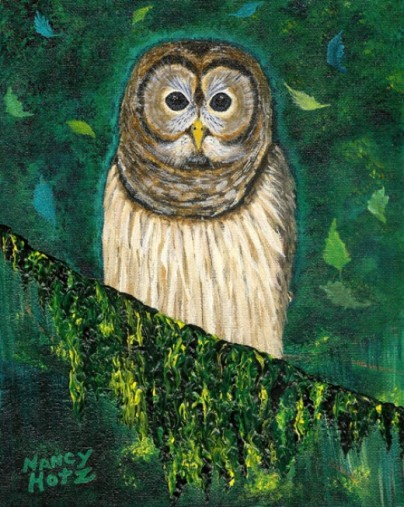 Owl painting by Nancy Hotz