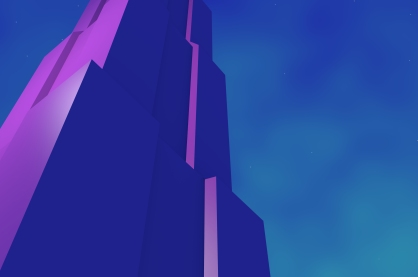 Futuristic building. Art deco style. Created in 3D Blender. By Rain